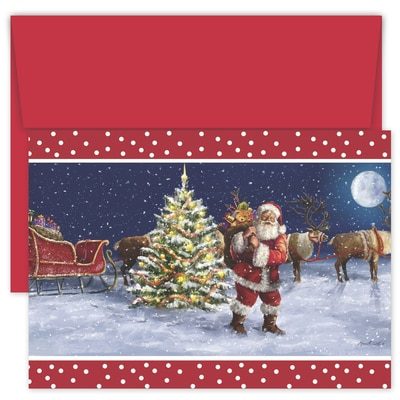Santa and His Pack Hollyville Boxed Holiday Card