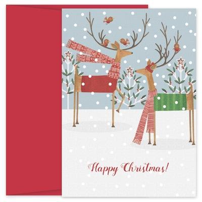 Deer Folk Hollyville Boxed Holiday Card