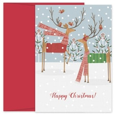 Deer Folk Hollyville Boxed Holiday Card