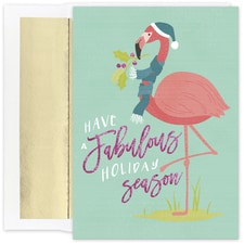 Fabulous Flamingos Warmest Wishes Boxed Holiday Card