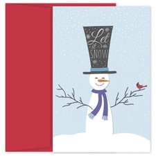 Top Hat Snowman Holiday Collection Petites Boxed Holiday Card