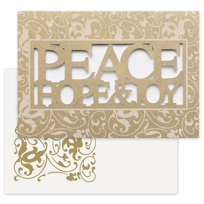 Peace Hope Joy Laser Cut Holiday Collection Boxed Holiday Card