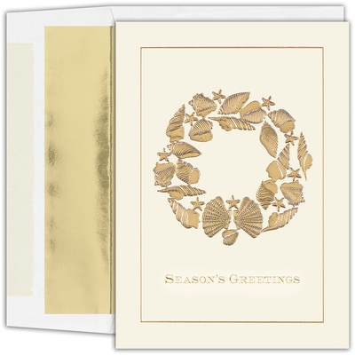 Golden Shell Wreath Warmest Wishes Boxed Holiday Card