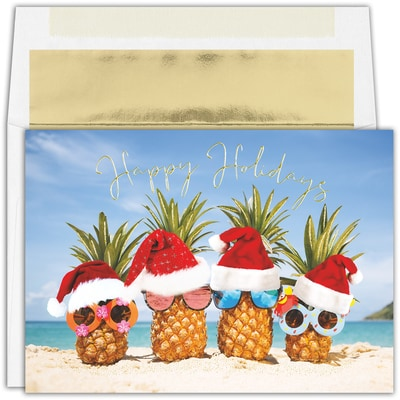 Pineapple Santas Warmest Wishes Boxed Holiday Card