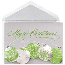 Green Ornaments Century Boxed Holiday Card