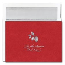 Silver Pinecone On Red Century Boxed Holiday Card