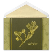 Golden Pinecones Century Boxed Holiday Card