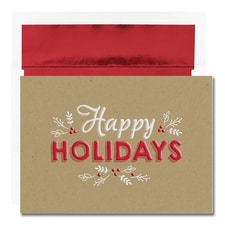 Happy Holidays on Kraft Century Boxed Holiday Card