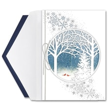 Cardinals in the Woods Intricuts Boxed Holiday Card