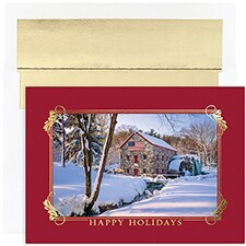 Winter Mill Scene Century Boxed Holiday Card