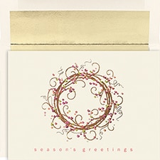 Colorful Wreath Century Boxed Holiday Card
