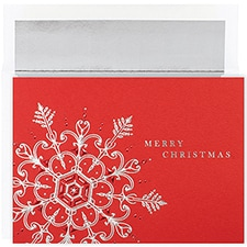 Silver & Red Flake Century Boxed Holiday Card