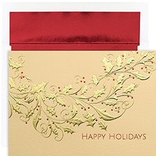Gold Holly Century Boxed Holiday Card