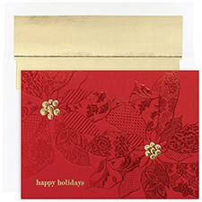 Patterned Poinsettia Century Boxed Holiday Card