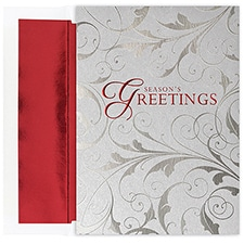 Silver Scrolls Century Boxed Holiday Card