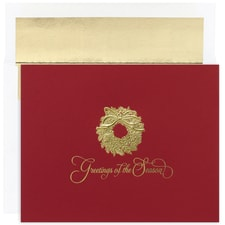 Wreath on Red Century Boxed Holiday Card