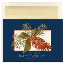 Copper Pinecone Century Boxed Holiday Card