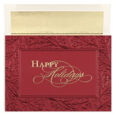 Burgundy Holly Century Boxed Holiday Card