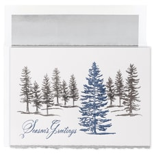 Silver & Blue Treeline Century Boxed Holiday Card