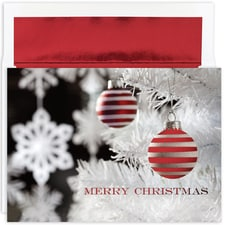 Red Stripe Ornament Century Boxed Holiday Card