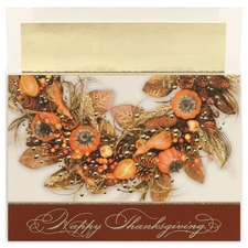 Thanksgiving Wreath Century Boxed Holiday Card