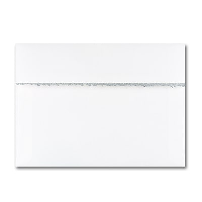 5 7/8 x 8 1/4 Silver Deckle Square Flap  Hi White Envelope