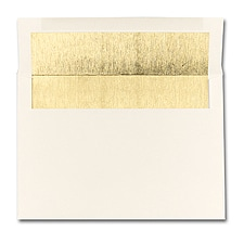 5 7/8 x 8 1/4 Shiny Gold Lined Ecru Square Flap Envelope