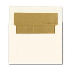 4 1/8 x 5 1/2 Dull Gold Lined Ecru Square Flap Envelope