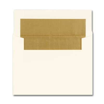 4 1/8 x 5 1/2 Dull Gold Lined Ecru Square Flap Envelope