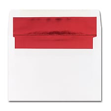 5 7/8 x 8 1/4 Shiny Red Lined White Square Flap Envelope