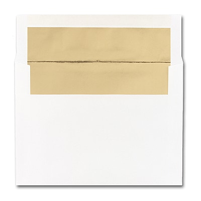 5 7/8 x 8 1/4 Shiny Gold Lined White Square Flap Envelope