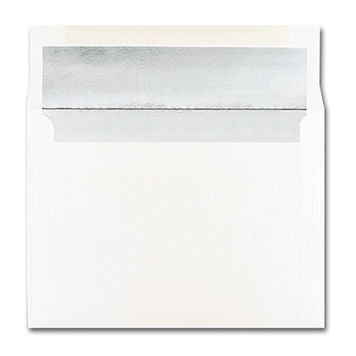 5 7/8 x 8 1/4 Shiny Silver Lined White Square Flap Envelope