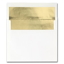 A2 4 3/8 x 5 3/4 Bright Gold Lined Square Flap 70 lb. Hi White Vellum
