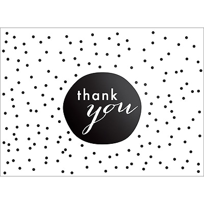 TINY DOTS THANK YOU NOTE - BLACK
