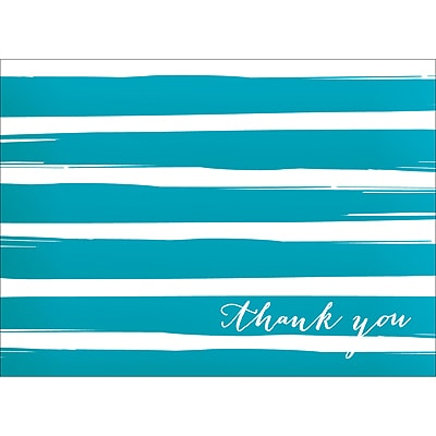 BRUSH STRIPES THANK YOU NOTE - BLUE