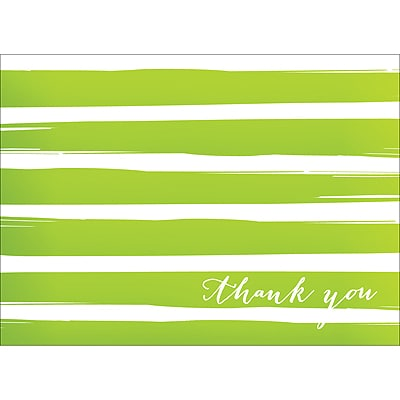 BRUSH STRIPES THANK YOU NOTE - GREEN