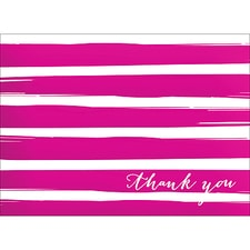 BRUSH STRIPES THANK YOU NOTE - PINK