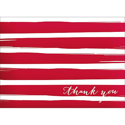 BRUSH STRIPES THANK YOU NOTE - RED