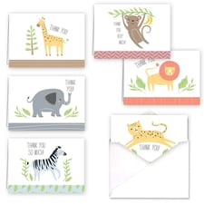 JUNGLE ANIMALS THANK YOU SET