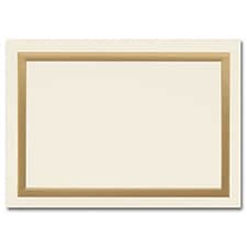 Simple Gold Border Ecru Foldover Response Card 3 1/2 x 4 7/8