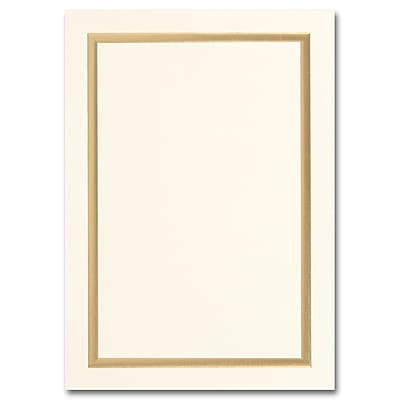 Simple Gold Border Ecru Tiffany Flat Invitation 5 1/2 x 7 3/4