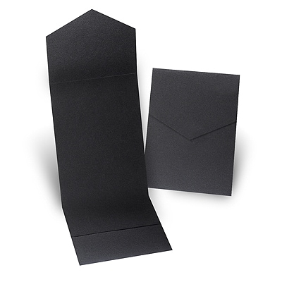 Black Shimmer Pocket Folder 5 1/4 X 7 5/16
