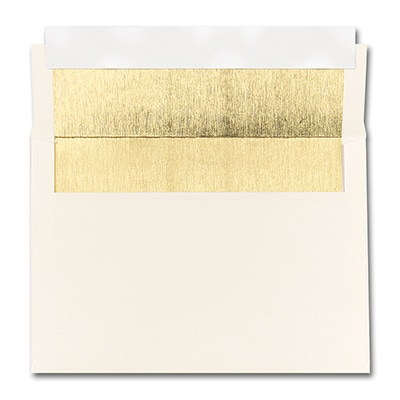 5 7/8 X 8 1/4 SHINY GOLD LINED ECRU SQUARE FLAP FASTICK ENVELOPE