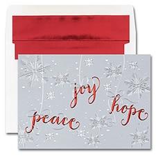 PEACE, HOPE, JOY SNOWFLAKES