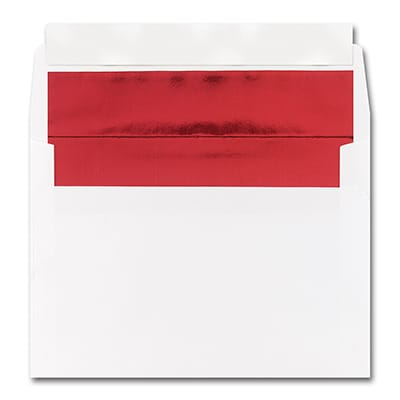 5 7/8 x 8 1/4 Shiny Red Lined White Square Flap Fastick Envelope