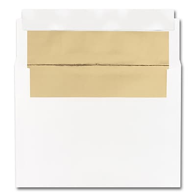 5 7/8 x 8 1/4 Shiny Gold Lined White Square Flap Fastick Envelope
