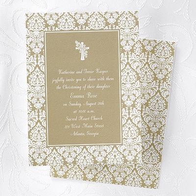 Damask Baptism Invitation - Champagne