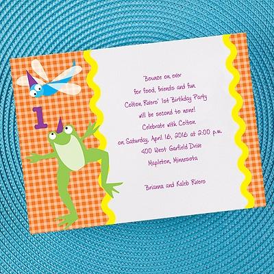 Gingham 1st Boy Birthday Invitation