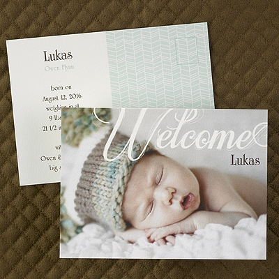 Welcome Post Card - Birth Announcement