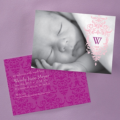 Filigree Photo Birth Announcement - Pink